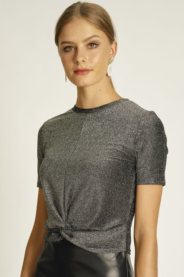 FRONT KNOT SHIMMER TOP  (324751)