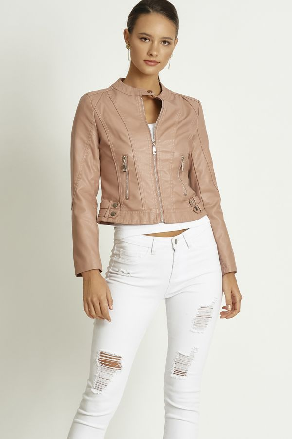 ZIPPER DETAILED LEATHER JACKET (324788)