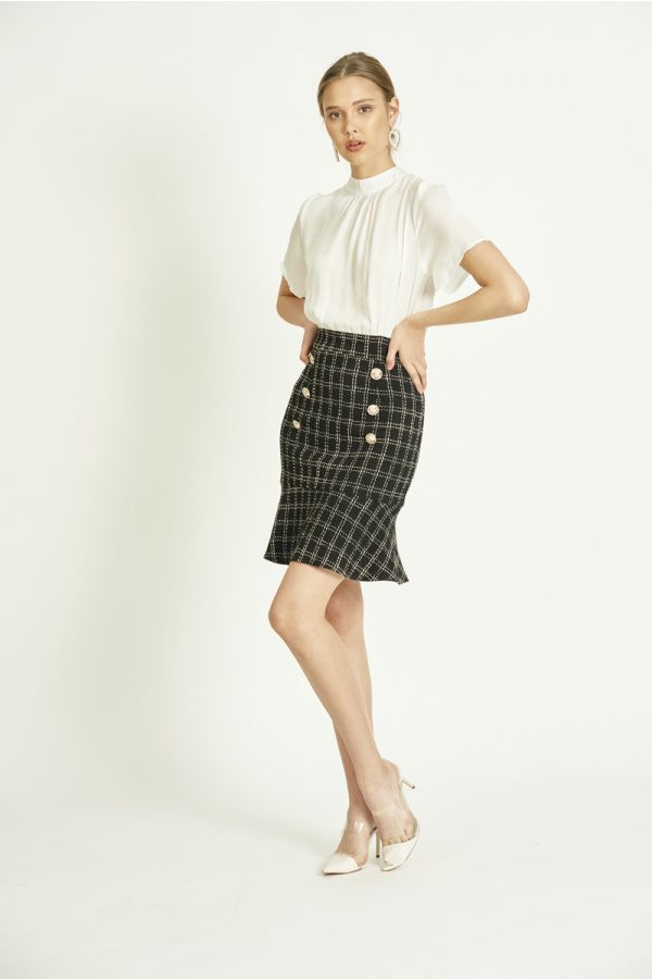 WOVEN COMBINED TWEED DRESS (324792)