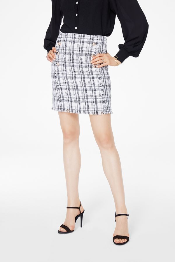 TWEED RAW EDGE MINI SKIRT (324860)