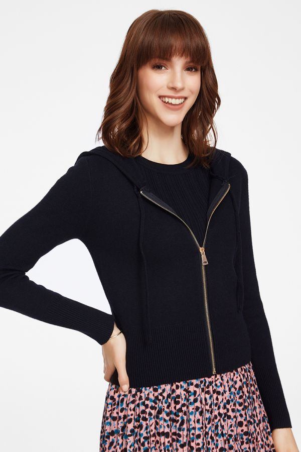 HOODED ZIP UP KNIT CARDIGAN (324873)