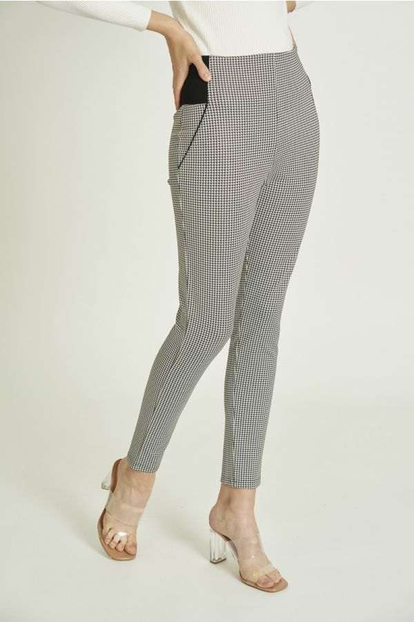 E-BAND WAIST BUTTON DETAILCHECK PEGGINGS (324885)