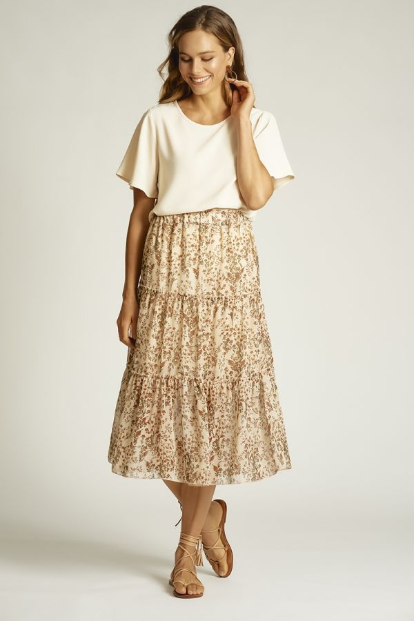 CHIFFON TIERED SKIRT (324978)