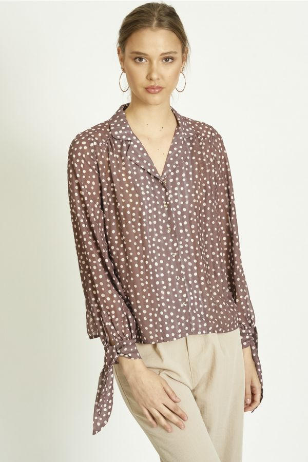 PUSSY BOW CUFFS LONG SLEEVES POLKA DOT SHIRT (324981)