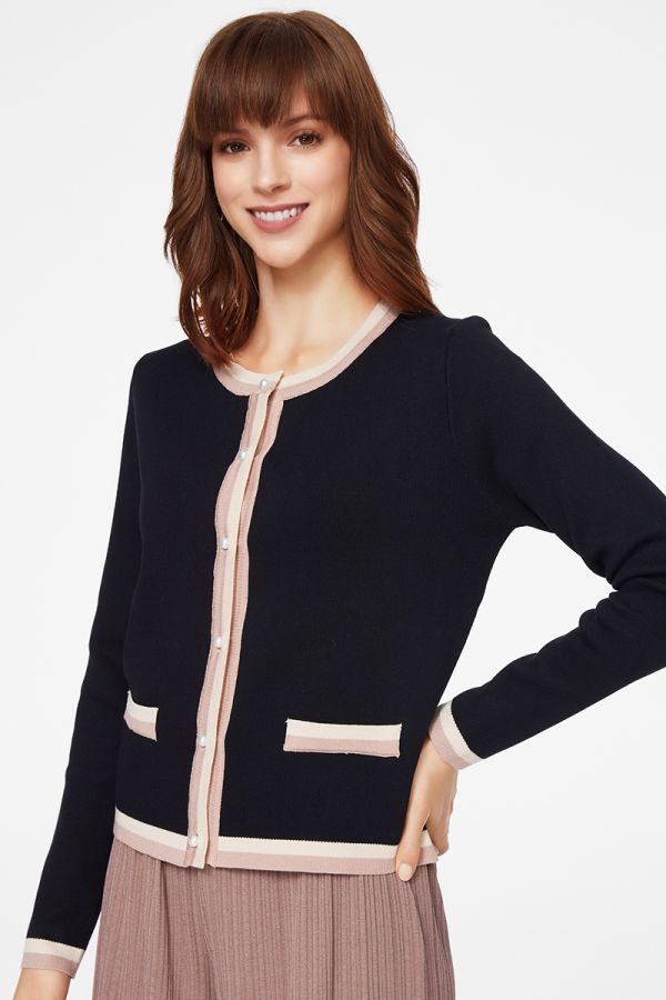 COLOUR BLOCK KNIT CARDIGAN (325037)