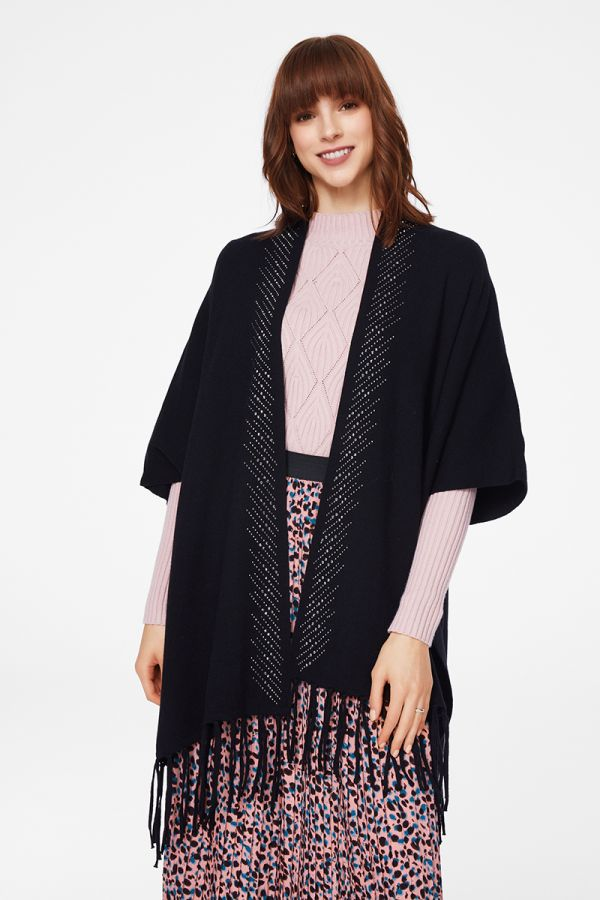 EMBELLISHED CAPE KNIT CARDIGAN (325041)