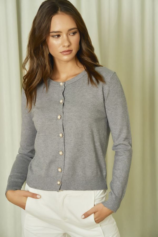 HIGH GAGE BUTTONED SHORT KNIT CARDIGAN (325072)