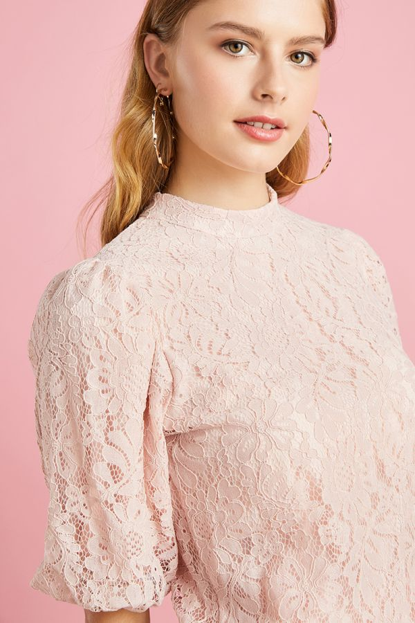 VOLUME SLEEVE LACE TOP (325081)