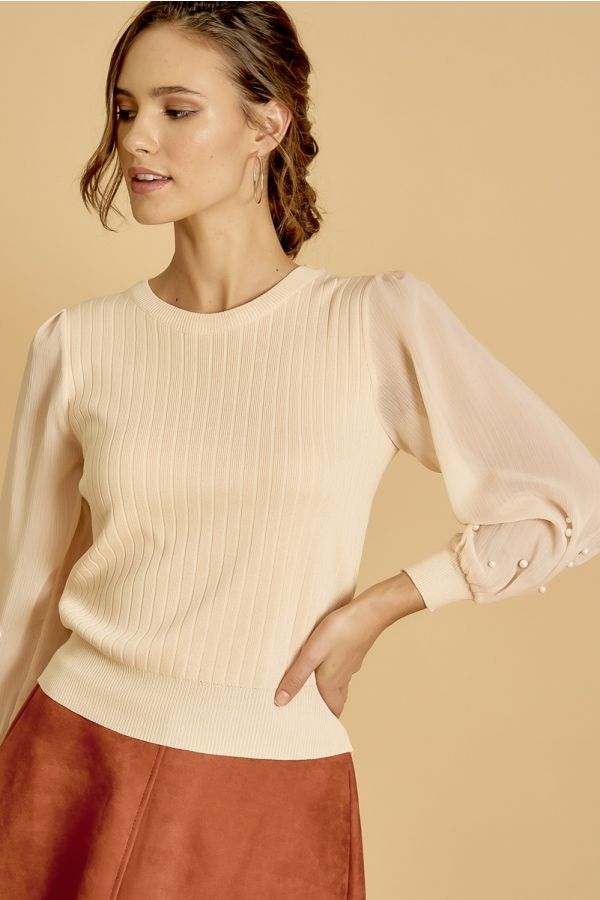 CHIFFON SLEEVE KNIT TOP  (325097)