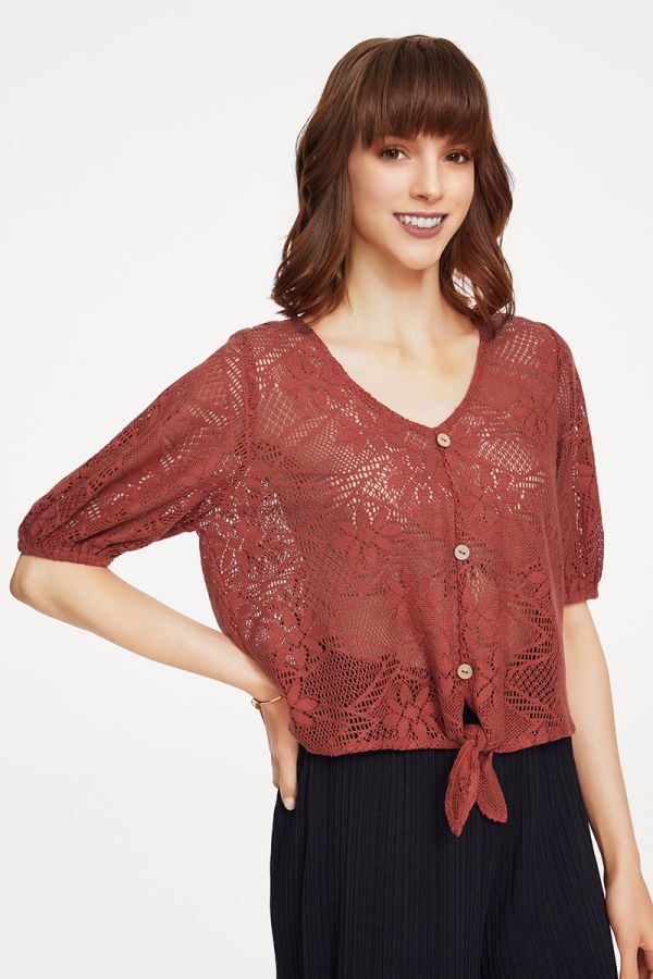VOLUME SLEEVE LACE TOP (325165)