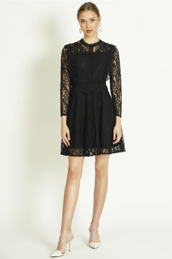 ALL OVER LACE FIT & FLARE HIGH NECK DRESS (325184)