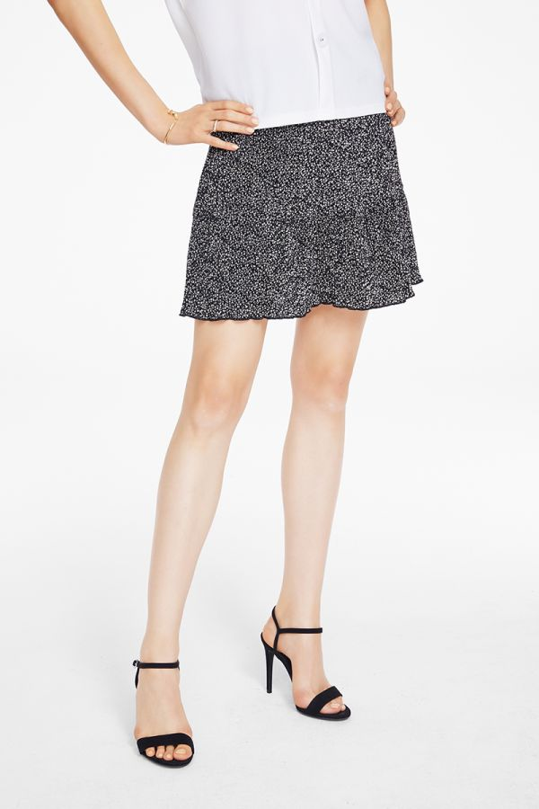 PLEATED DOT MIDI SKIRT (325188)