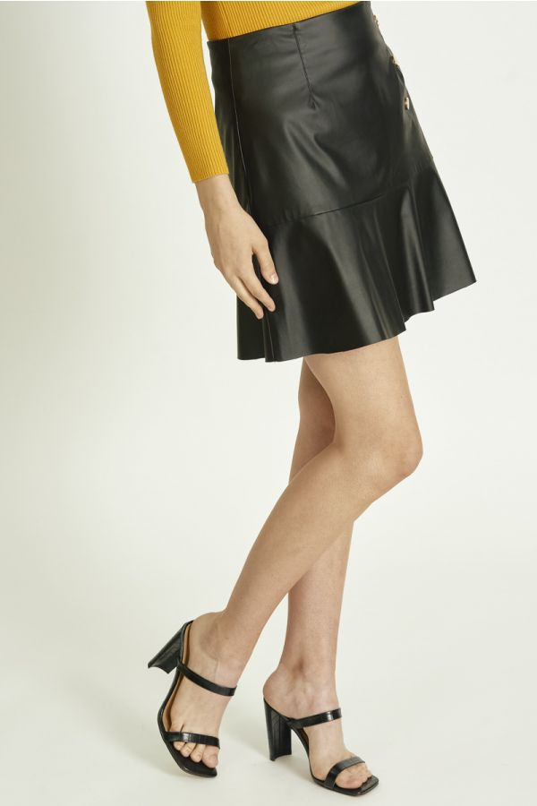 PU MINI FLARE SKIRT (325215)