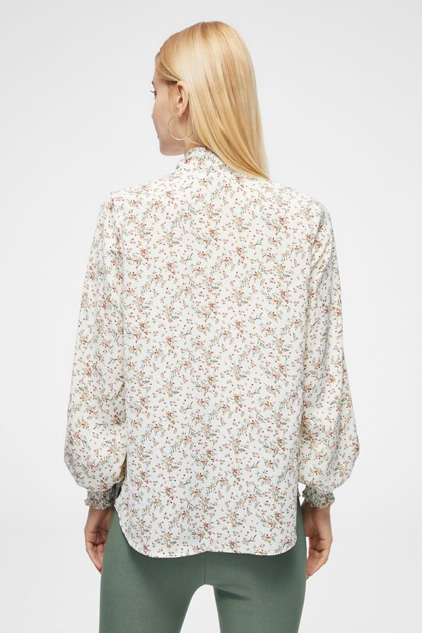 TIE-NECK FRILLED FLORAL TOP (325217)