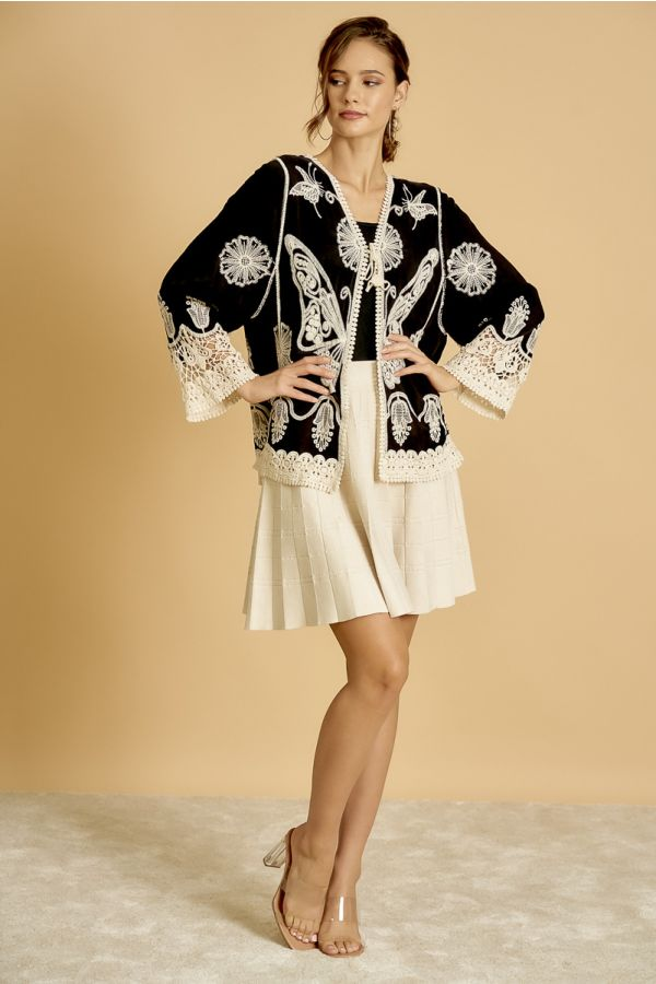 CROCHET EMBROIDERY CARDIGAN  (325301)