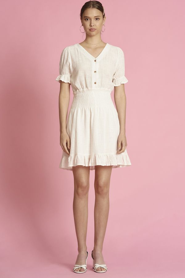LINEN SMOCKING WAIST MINI DRESS (325303)