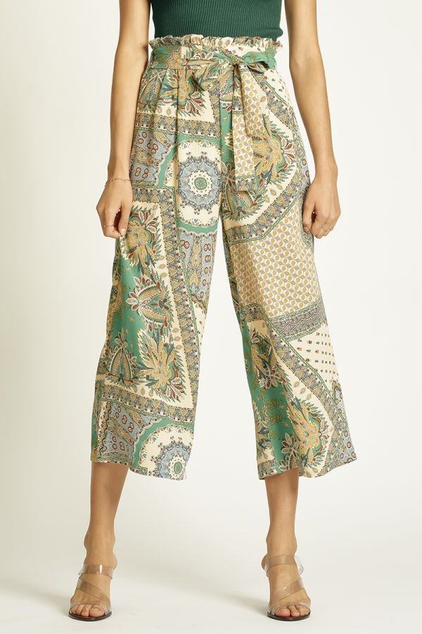 PRINTED WIDE LEG PANTS (325328)