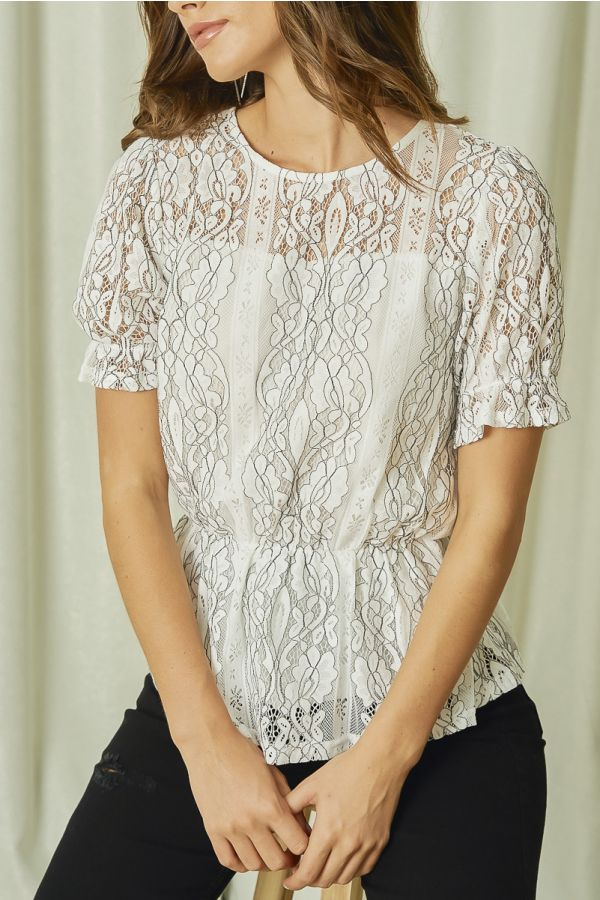 LACE PUFF SLEEVEPEPLUM TOP (325345)