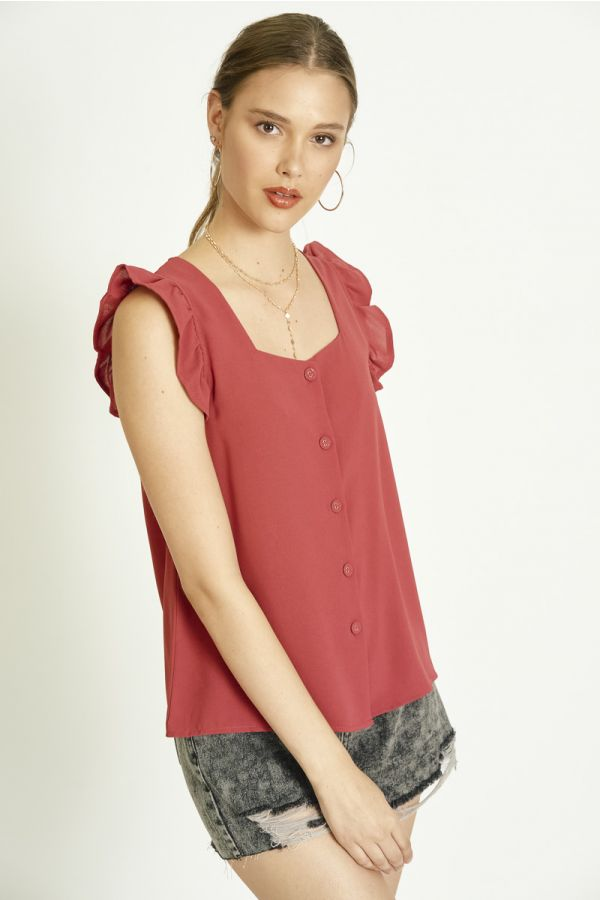BUTTON DOWN WOVEN TOP (325397)