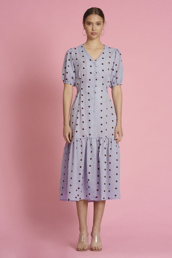 WAIST BELTED BUTTON DOWN MIDI DRESS (325404)
