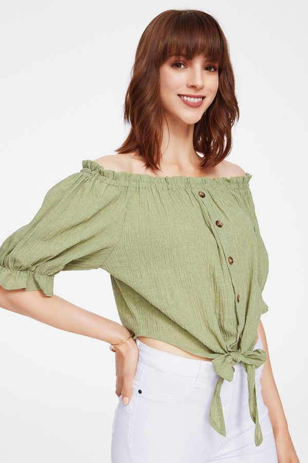 BUTTON DOWN WOVEN TOP (325406)
