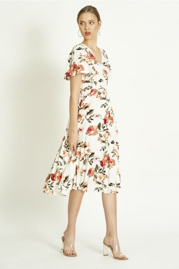 FLORAL PRINTED PLEATED DRESS  (325457)