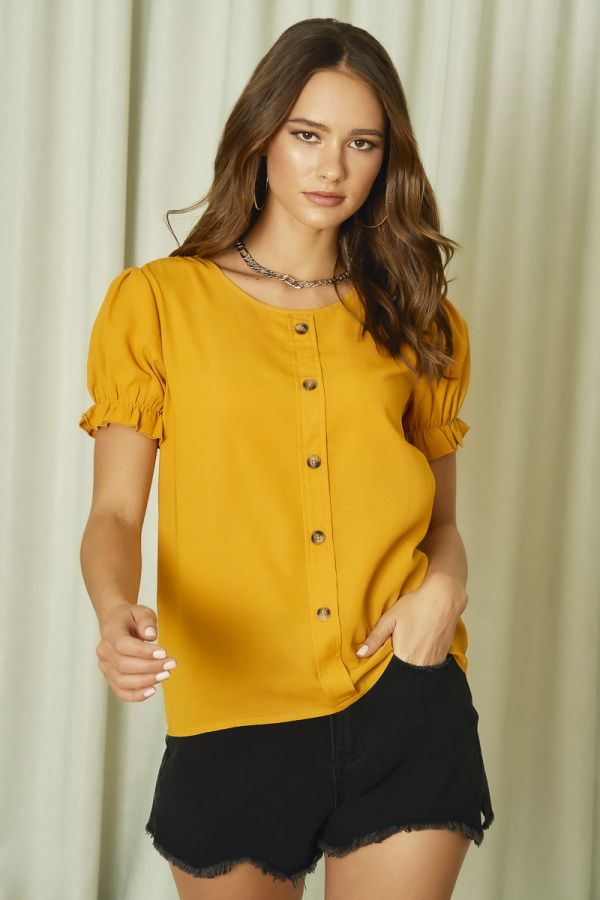 BUTTON DOWN LINEN LIKE TOP (325514)