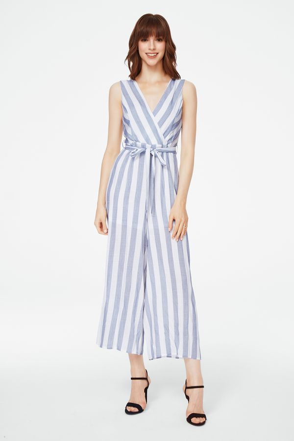 BELTED STRIPED JUMPSUIT (325548)