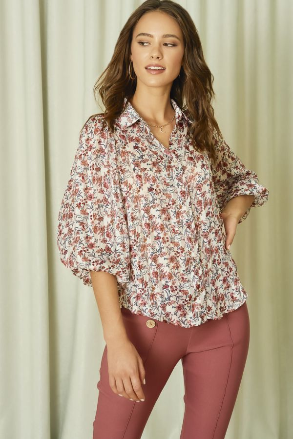VOLUME SLEEVES SATIN SHIRTS (325623)