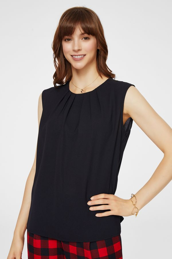 FRONT TUCKED SLEEVELESS TOP (325640)