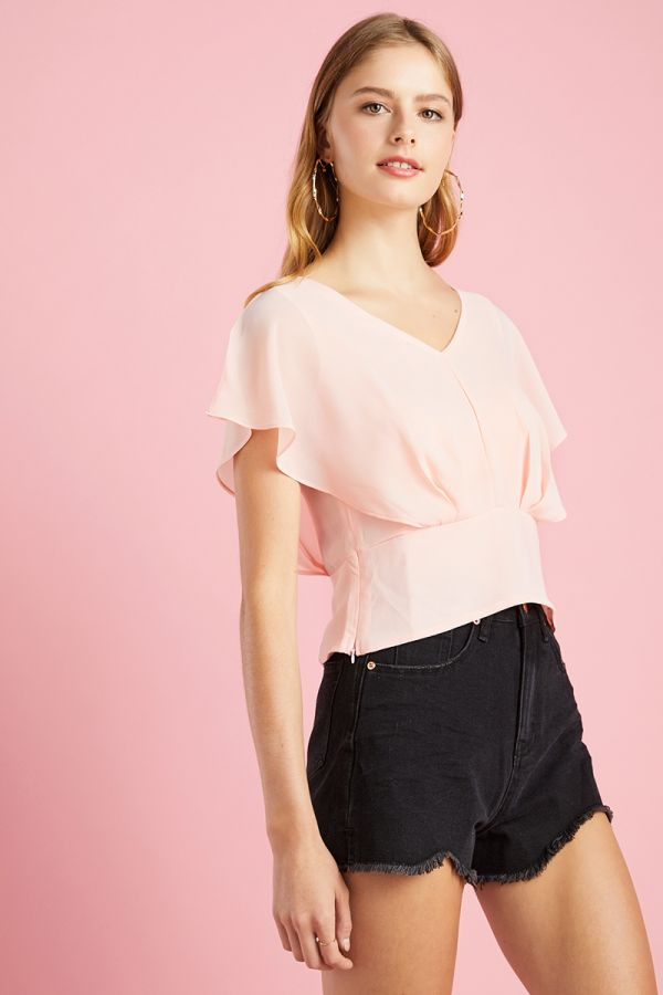 FRONT METAL FRILL SLEEVE TOP (325645)