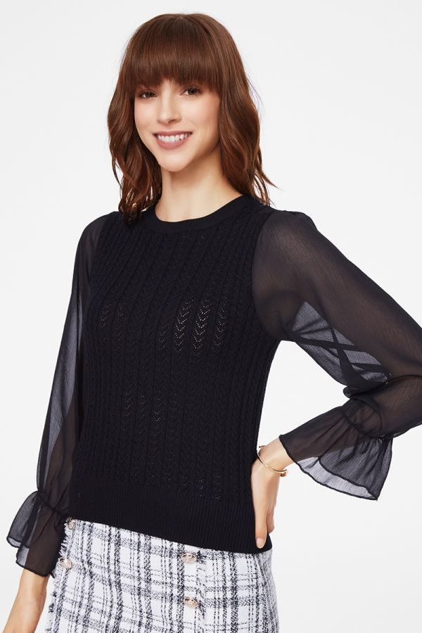 CHIFFON SLEEVE KNIT TOP (325680)