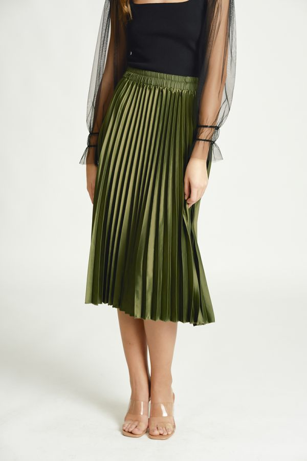 SATIN PLEATS SKIRT (325683)
