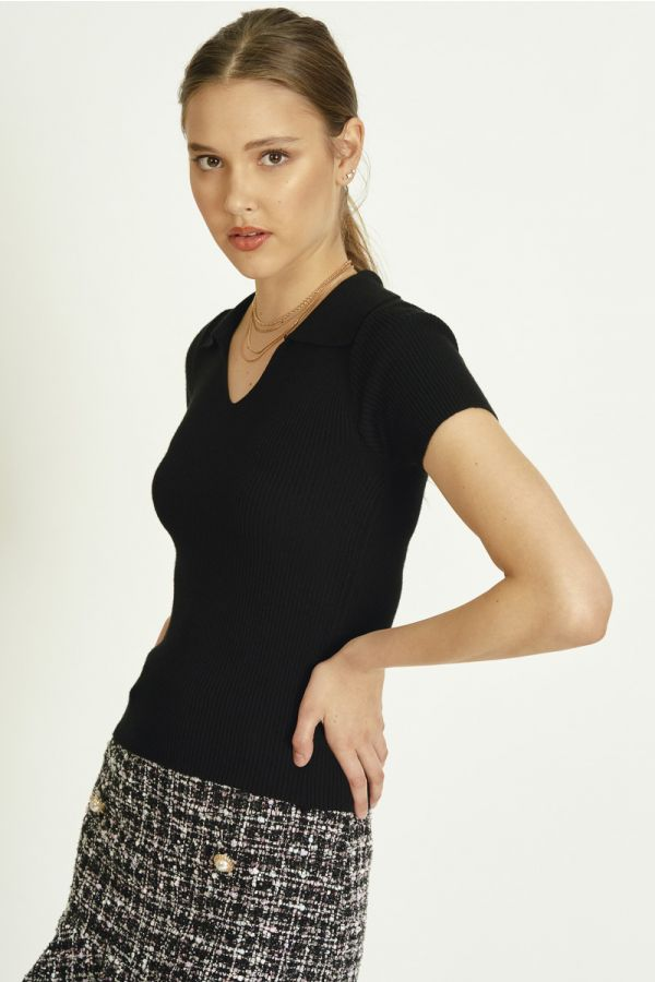 COLLARED KNIT TOP (325705)