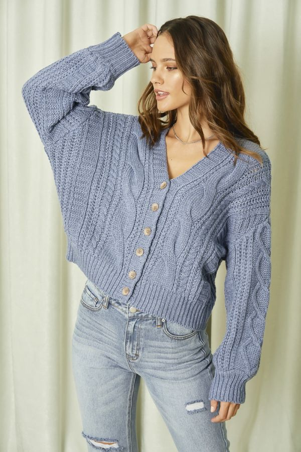 BOXY CABLE KNIT CARDIGAN  (325761)