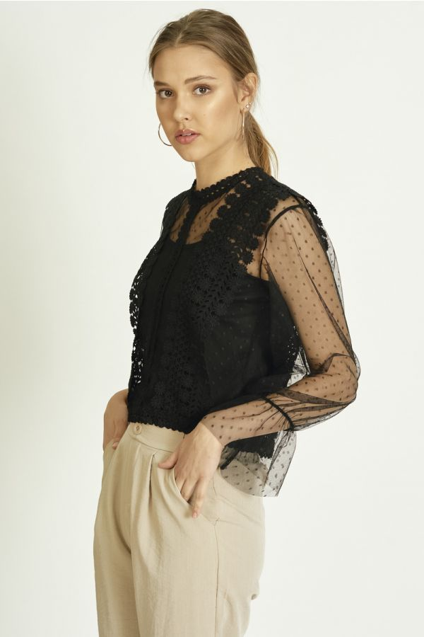 CROCHET TRIM HIGH NECK MESH TOP (325762)