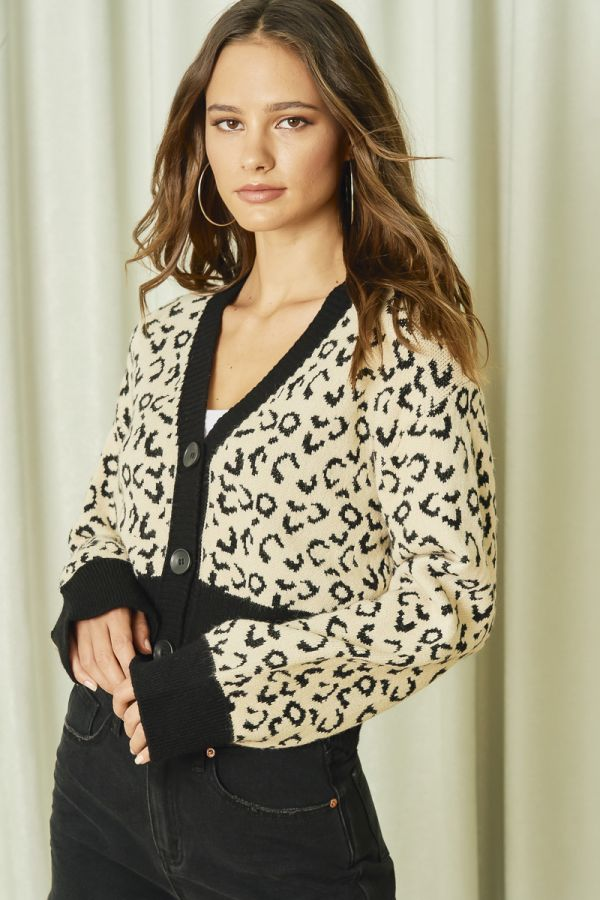 LEOPARD SHORT KNIT CARDIGAN (325763)
