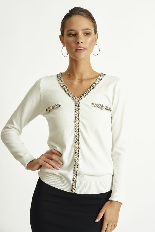 EMBELLISHED KNIT TOP (325800)