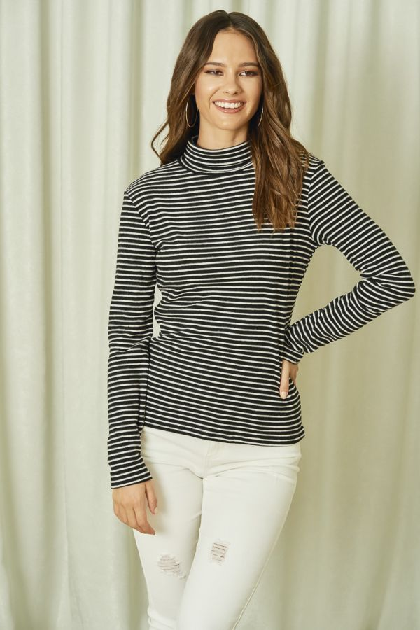 HAIRY STRIPE HIGH NECK TOP (325801)