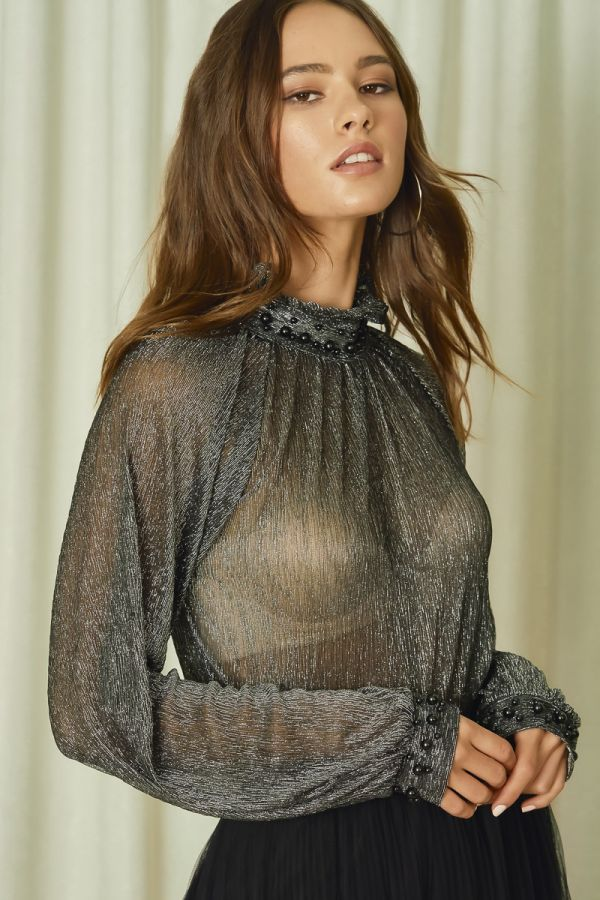 METALLIC JERSEY TOP WITH PEARL (325826)