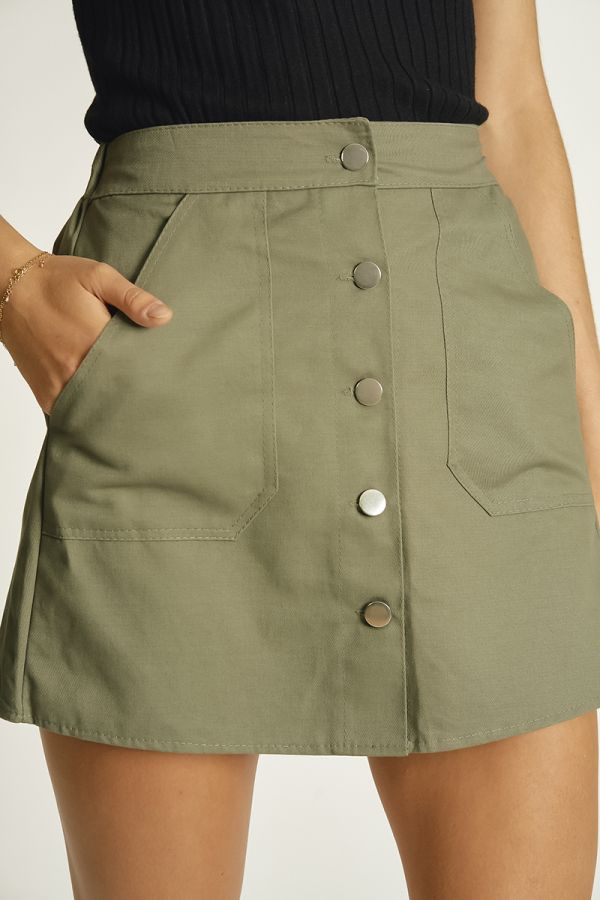 BUTTON DOWN MINI SKIRT (325845)