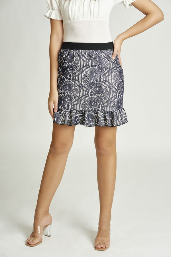 LACE BONDING FRILL HEM SKIRT (325848)