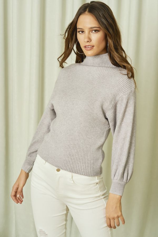 HIGH NECK KNIT TOP (325851)