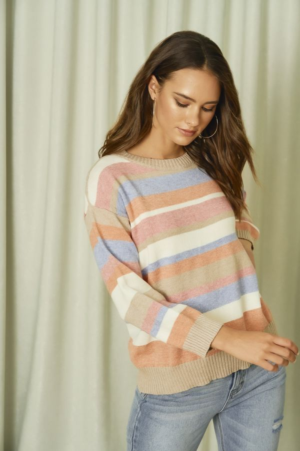 STRIPY KNIT TOP (325853)