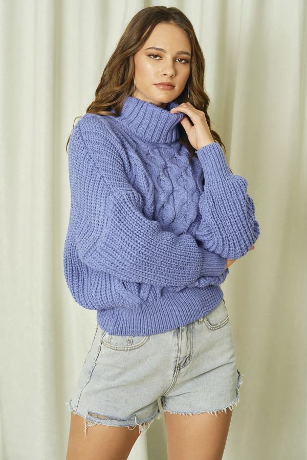 TURTLE NECK KNIT TOP (325858)