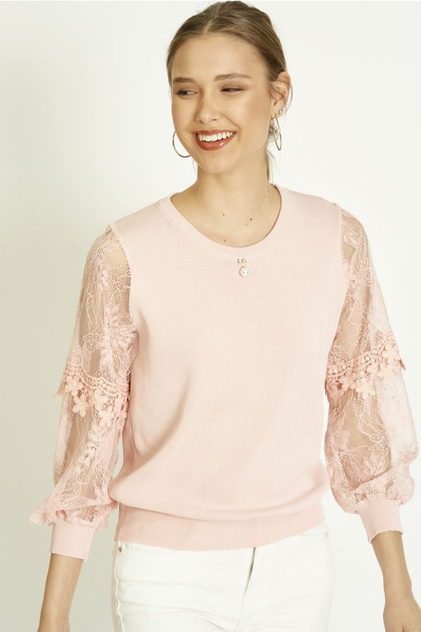 LACE SLEEVE KNIT TOP (325860)