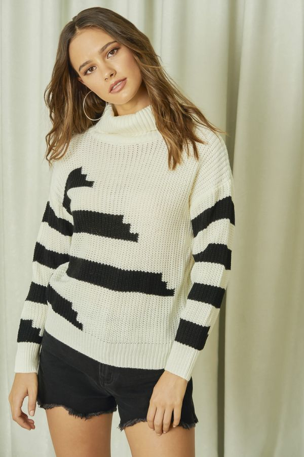 TURTLE NECK KNIT TOP (325879)