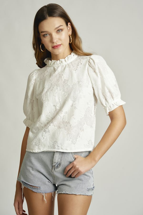 FRILL NECK PUFF SLEEVE LACE TOP (325882)