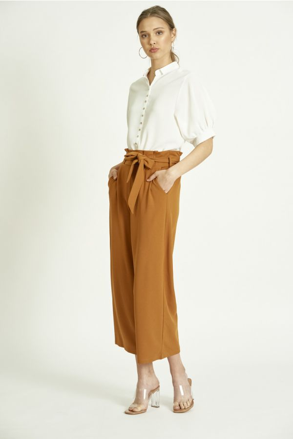 FRILLED BELTED PANTS (325917)