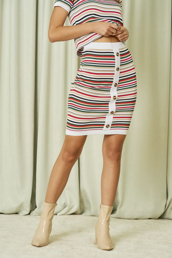 KNIT STRIPE SKIRT (325935)